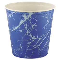 Solo Double Wrapped Waxed Paper Bucket, 165 OZ, Blue Marble