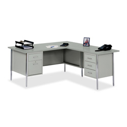 "Sandusky Lee RW4224-GY Left Desk Right Return L-Shaped Desk - L-shaped42"" x 29.5"" - Gray"
