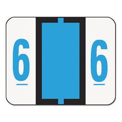 Smead Single Digit Numerical End Tab White Labels in Dispenser Box, Blue #6, 500/Roll