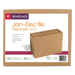 Smead Kraft Expanding File with Flap and Elastic Cord, Jan. Dec. Index, 12 x 10