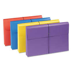 "Smead Antimicrobial File Wallet, 2"" Exp., Legal, Elastic Cord, Asst. Colors, 4/Pack"