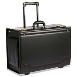 Bond Street Wheeled Catalog Case, Leather-Trimmed Tufide, 21-3/4 x 15-1/2 x 9-3/4, Black