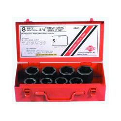 "Sunex 8 Piece 3/4"" Drive Standard SAE 6 Point Impact Socket Set"