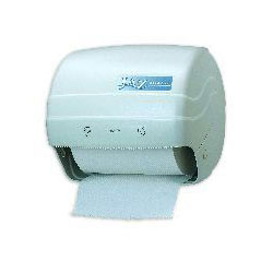 San Jamar Pull Action Hard Roll Paper Towel Dispenser, White