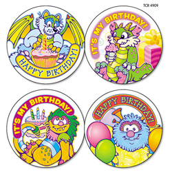 "Sticker Books, Critters Birthday Wear `em Badges, 2 3/8"". Pack Of 32 Picture"