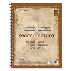 TOPS Second Nature® 1 Subject Wirebound Notebook, 3 Hole Punched, 11x8 1/2, 50 Sheets
