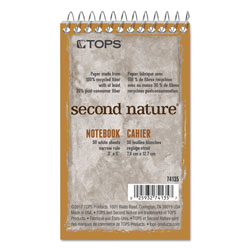 TOPS Second Nature® 1 Subject Wirebound Notebook, 3 Hole Punched, 3x5 Size, 50 Sheets