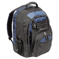 "Targus 17"" Laptop Backpack, File Compartment, Audio Player Sleeve, Black/Blue"