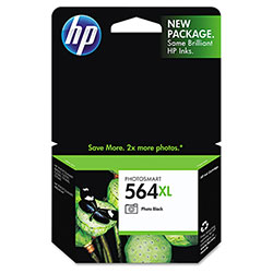 HP 564XL Black Inkjet Cartridge, Model CB322WN140, 290 Page Yield