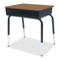 "Virco 785 Open Front Student Desk with Book Box - Rectangle - 4 Legs - 24"" x 18"" x 30"" - Plastic - Charcoal Black Frame"