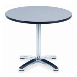 "Virco U36R Cafe Table Top - Round x 1.12"" - 35"" - Particleboard - Nebula Gray, Charcoal Black"
