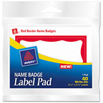 Avery Name Badge Label Pads, Red Border, 3 x 4, 40/Pad