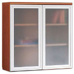 Hon Park Avenue Laminate Bookcase Hutch, Frosted Glass Doors, Henna Cherry
