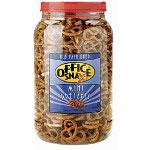 Office Snax Old Fashioned Salted Mini Pretzel Twists, 24 Ounce Plastic Canister