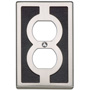 "Atlas Homewares ZAPOP-BL/BRN 4.9"" Zanzibar Black Outlet Plate, Brushed Nickel"