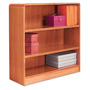 "Alera Wood Veneer 3-Shelf Radius Corner Bookcase, Finished Back, 36"" x 12"" x 36, Medium Oak"