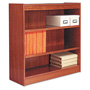 "Alera Wood Veneer 3-Shelf Square Corner Bookcase, Finished Back, 36"" x 12"" x 36, Medium Oak"