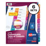 Avery Ready Index® Table of Contents Dividers, 8-Tab, 6 Sets, Multicolor