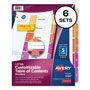 Avery Ready Index® Table of Contents Dividers, 5-Tab, 6 Sets, Multicolor