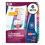 Avery Ready Index® Table of Contents Dividers, 15-Tab, 6 Sets, Multicolor