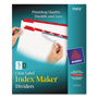 Avery Index Maker® Clear Label Dividers, Easy Apply™ Label Strip, 5-Tab, 5 Sets, Red