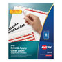 Avery Index Maker® Unpunched Clear Label Dividers for Bound Documents, 8-Tab, 25 Sets, White