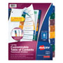 Avery Ready Index® Translucent Table of Contents Dividers, 8-Tab Set, Multicolor