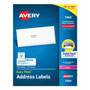 Avery White Laser Address Labels on Smooth Feed Sheets™, 1x2 5/8 Label, 7500 Labels/Bx