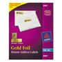 "Avery Gold Foil Ink Jet Mailing Labels, 3/4""x2 1/4"", 300 per Pack"
