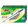 Bic Ecolutions Round Stic Ballpoint Pen, Blue Ink, 1mm, Medium, 50/Pack