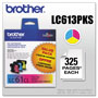 Brother LC613 Cyan, Magenta, Yellow Ink Cartridge, 325 Pages
