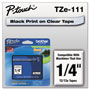 Brother TZe Standard Adhesive Laminated Labeling Tape, 1/4w, Black on Clear