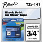 "Brother Lettering Tape, 3/4"" Size, Black/Clear"