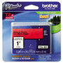 Brother TZe Standard Adhesive Laminated Labeling Tape, 1w, Black on Red