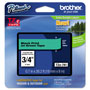 Brother TZe Standard Adhesive Laminated Labeling Tape, 3/4w, Black on Green