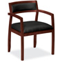 Basyx by Hon Wood Guest Chairs with Black Leather Seat/Upholstered Back, Mahogany Finish