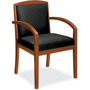 Basyx by Hon Leather/Wood Guest Chair, Black Leather Upholstery with Bourbon Cherry Veneer Frame
