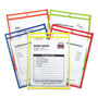 C-Line Shop Ticket Holder for 9x12 Insert, Taped & Neon Stitched Edges, Clear, 25/Box