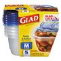 Glad GladWare Plastic Soup and Salad Containers with Lids, 24oz, Clear/Blue, 5/Pack