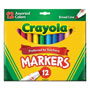 Crayola Non-Washable Markers, Broad Point, Assorted Colors, 12/Set