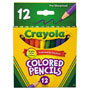 Crayola Short Barrel Colored Woodcase Pencils, 3.3 mm, 12 Assorted Colors/Set