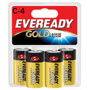 Energizer Gold A93BP-4 Alkaline Batteries, C