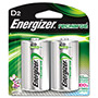 Energizer NH50BP-2 NiMH Rechargeable Batteries, D