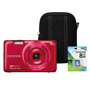Fuji FinePix JX660 Digital Camera Bundle, 16MP, 5x Optical Zoom, Red