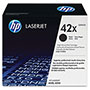HP 42X Black Toner Cartridge, Model Q5942X, Page Yield 20000