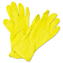 Impact Flock Lined Latex Gloves, Yellow, 12 in Length, Medium, Dozen