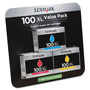 Lexmark 14N1188 (100XL) High-Yield Ink, 3/Pack, 600 Page-Yield, Cyan, Magenta, Yellow