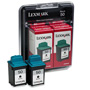 Lexmark Ink Cartridge for Color Jetprinter Z12, Z22, Z32, Waterproof, Black, 2/Pack