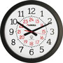"Lorell Military Wall Clock, 14-3/4"" 12/24 Hour, WE Dial/BK Frame"