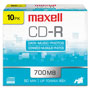 Maxell CD R Discs, 48x, 700MB/80Min, Branded, Slim Jewel Case, Silver, 10/Pack